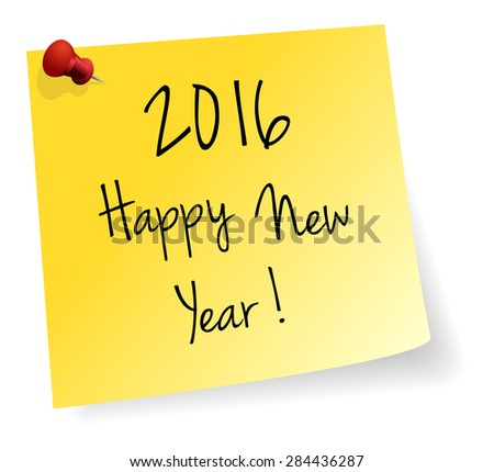 Happy New Year 2016 Yellow Stick Note Paper Vector Isolated