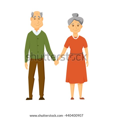 stock vector happy old couple stand together and hold hands smile elderly man and women cute vector 440400907