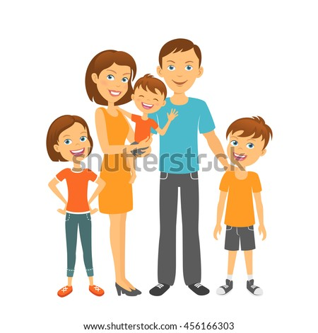 Happy parents and kids. Mother and father with children. Mom and dad with kids