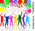 happy party people silhouettes - vector - stock vector