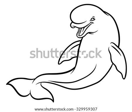 happy smiling beluga whale cartoon vector hand drawing illustration
