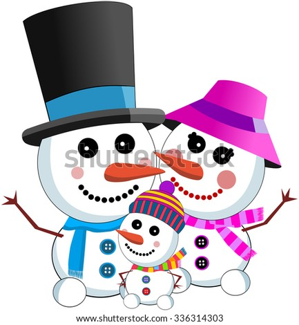 happy snowman family wearing scarf top hat isolated