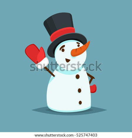 Happy Snowman in black hat and red mitten vector icon flat helper or game character
