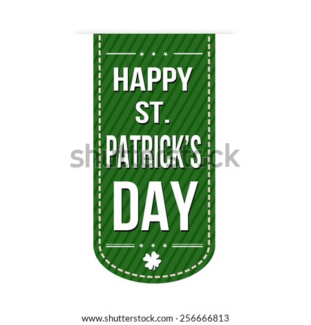 Happy St. Patrick's Day banner design over a white background, vector illustration