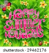 happy summer holiday greeting inscription in vector - stock vector