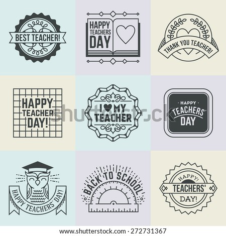 Happy Teachers Day Design Insignias Logotypes Stock Vector ...