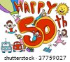 happy 50th anniversary cartoon - stock photo