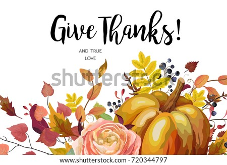 Happy Thanksgiving Vector Floral Watercolor Style Hand Drawn Greeting Card Design Autumn Season Pumpkin Pink