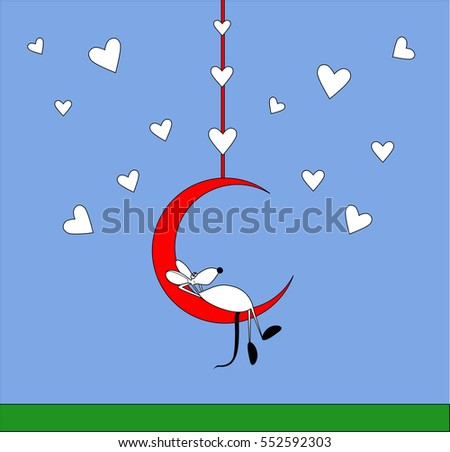 Happy Valentine's day background with hearts, moon and mouse vector