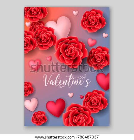 Happy Valentines Day Invitation Red Roses Stock Vector 790156582 ...