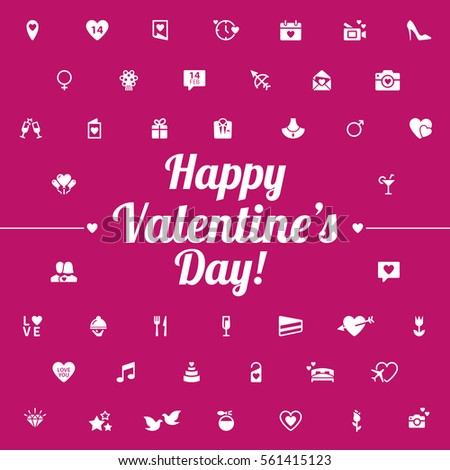 happy valentines day modern flat icons include elements heart diamond present