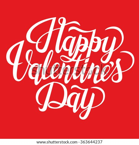 Happy Valentineu0027s Day Text. Valentineu0027s Typography. Vector Illustration Of  Valentine Greeting Card With Swirl