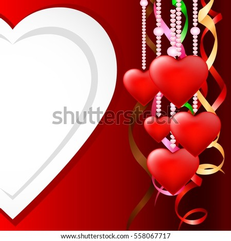 happy Valentines day with hearts white and red ribbon