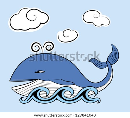 Happy whale with clouds. EPS 10