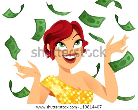 Happy winner with money flying around her