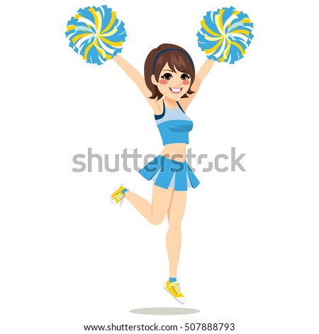 Happy young cheerleader girl jumping With Pom-poms on blue uniform
