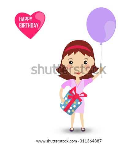 Happygirl with a balloon in purple dress. Happy Birthday card. Cartoon vector illustration.