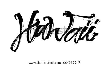 Aloha Lettering Vector Calligraphy Illustration Hawaiian