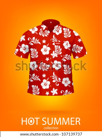 Hawaiian SHIRT, red & white color. This is VECTOR illustration, created with attention to details. Sample identity and pocket can be easily removed.