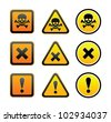 Hazard warning symbols, set - stock vector