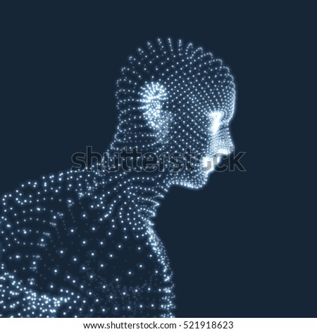 Head of the Person from a 3d Grid. Human Head Model. Geometry Man Portrait. Vector Illustration.
