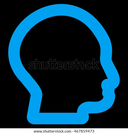Head Profile vector icon. Style is stroke flat icon symbol, blue color, black background.