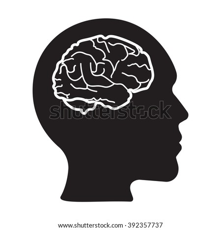 Head with brain vector icon on the white background