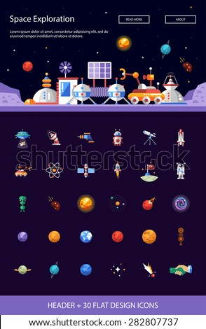 Set vector space icons pictograms infographics stock for Space defining elements in architecture