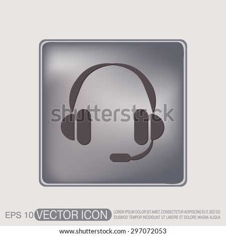 headphone icon. help sign, customer support avatar