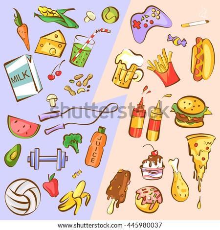 Healthy Vs Unhealthy Foods Cartoon