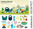 Healthy lifestyle. Sport, running, exercise, sun, air, water, proper nutrition, healthy food, fruits, vegetables, vitamins, schedule. For web, applications, banners, brochures, book covers, layouts  - stock vector