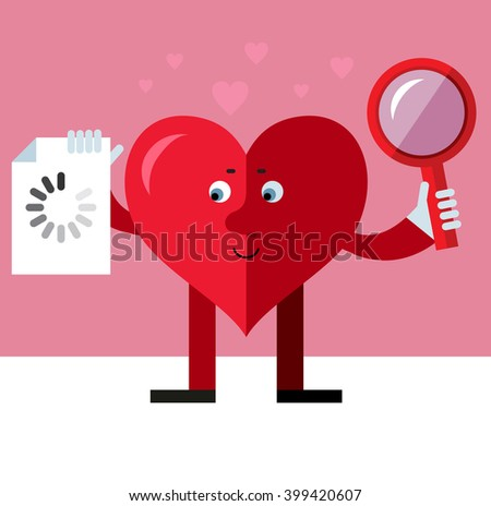 Heart character with magnifier glass and preloader icon. Searching. Flat style vector illustration on pink background. Valentine day greeting card. love symbol
