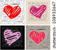 Heart design elements. Love set. Handwriting vector background. Valentine day. - stock vector