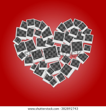 heart filled frames for photos with transparent backgrounds on red