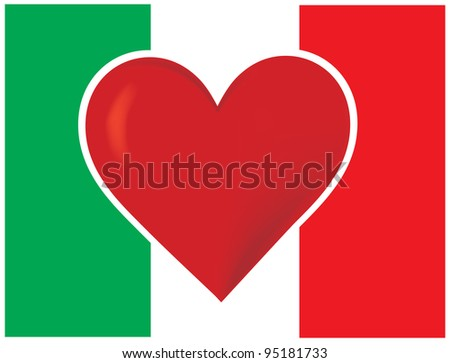 Heart Italy Flag An image of the Italian flag, with a big red heart at the center.