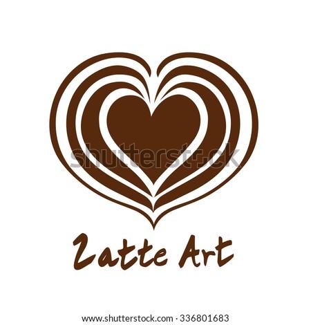 heart latte art coffee logo icon stock vector 418664167