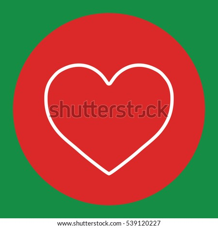 heart love romantic line white icon in red circle