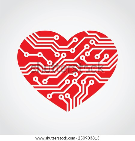 heart love / technology concept design
