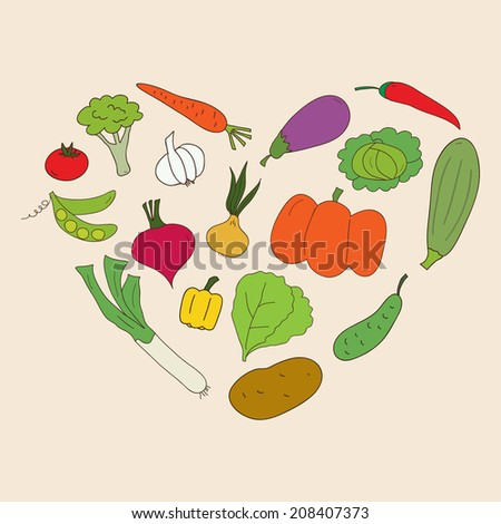 Heart of doodle vegetables. Bright vegetables: tomato, cucumber, carrot, chili, broccoli, etc.