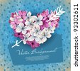 Heart of flowers of lilac and arrow Cupid. An illustration on a theme of Valentine's day - stock photo