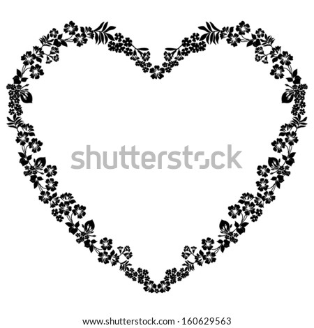 Heart of Flowers with a place for Your text. Vector illustration.