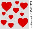 heart puzzle with a picture of the heart - stock photo