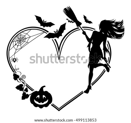 Heart-shaped frame with girl silhouette. Halloween background. Witch, bats, broom, pumpkin. Vector clip art.