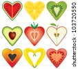 Heart Shaped Healthy Fruit Halves Collection - stock vector