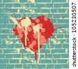 Heart symbol on brick wall, vector. - stock photo