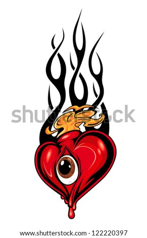 Heart tattoo or mascot with eye and tribal flames isolated on white, such a logo template. Jpeg version also available in gallery