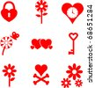 hearts and flowers valentine mini symbols set - stock vector