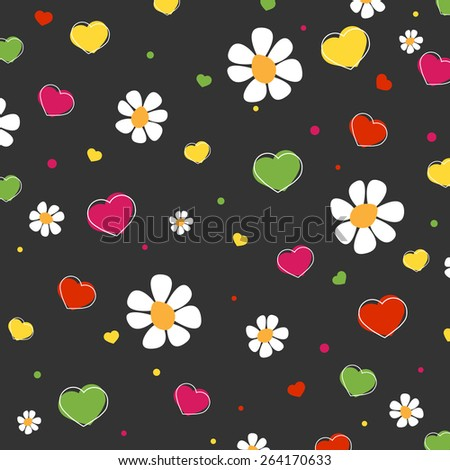 Hearts, flowers and dots pattern. Vector.