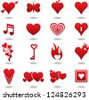 hearts icons set - stock photo