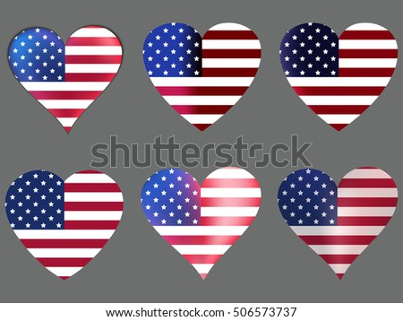 Hearts with the American flag. Vector illustration.